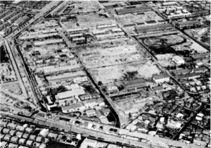 画像:矢部駅を左隅に見ながらの航空写真